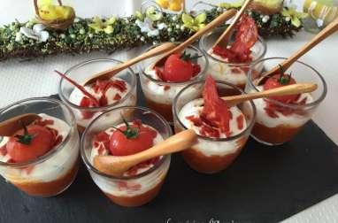 Verrines au chutney de tomates cerise mousse de feta chorizo