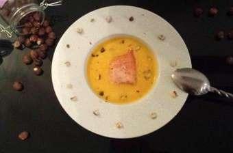 Soupe de potimarron et saumon