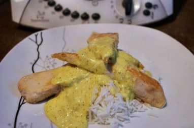 Aiguillettes de poulet, sauce curry et riz au thermomix facile et rapide