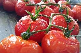 Tomates cerises sur grappe semi - confites