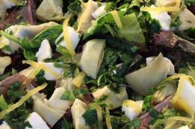 Salade d'artichauts, mozzarella au citron confit