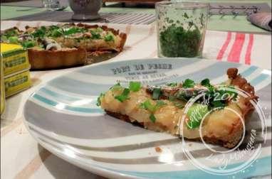 Tarte au blé noir, oignons doux et sardines