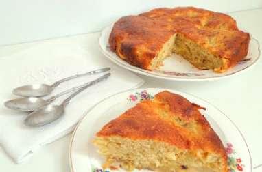 Gâteau pommes, rhubarbe et miel