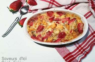 Gratin de fraises et melon à la poudre d'amandes et à la menthe