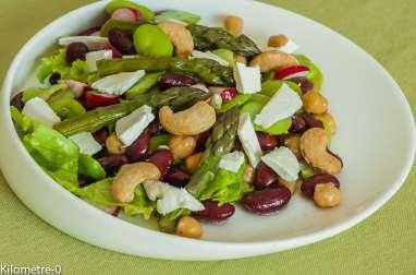 Salade aux haricots rouges, pois chiches et noix de cajou