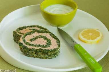 Roulé de saumon aux épinards