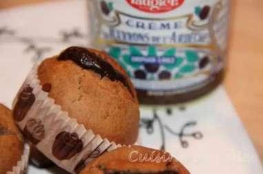 Muffins à la châtaigne et au miel, coeur de crème de marron et chocolat