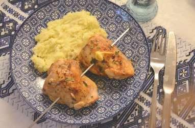 Souvlaki de poulet au citron et huile d'olive