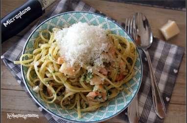 Crevettes sautées ail et persil / linguine aux crevettes à l'ail