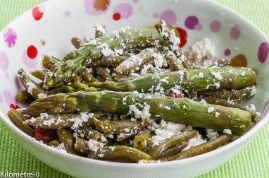 Salade de haricots verts aux tomates confites et asperges vertes