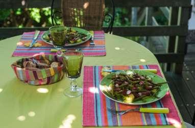 Salade tiède au chorizo et oeuf poché