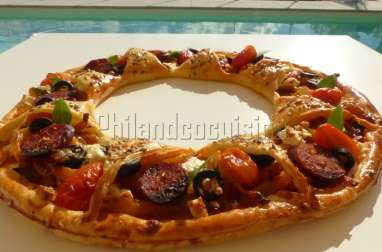 Tarte soleil aux poivrons, chorizo et feta