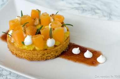 Tartelette de melon poché au romarin