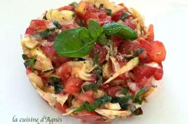 Tartare de tomates et d'artichauts violets