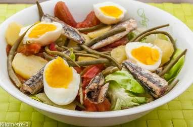 Salade de pommes de terre, tomate, oeufs et anchois