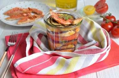 Millefeuilles tomates aubergines et rouget