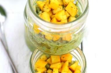 Verrine de tartare de courgette jaune et le riz vert