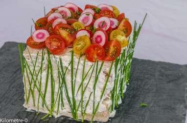 Sandwich cake à la truite fumée et au concombre