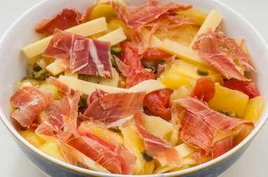 Salade de pommes de terre aux tomates anciennes, comté et jambon sec