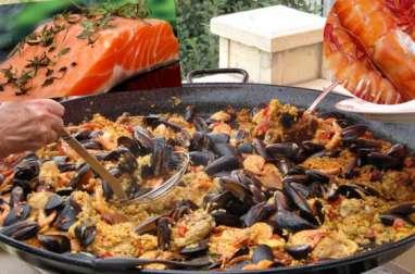 """""""Paella"""" aux crevettes, moules, saumon, chorizo"""