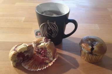 Muffins chocolat blanc framboises