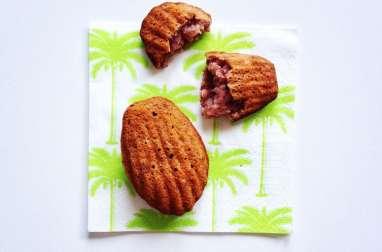 Madeleines au mascarpone, aux framboises et à la noix de coco