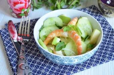 Salade de crevettes pommes concombre et menthe
