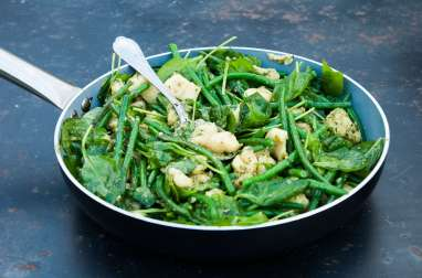 Gnocchi, pesto et haricots en souvenir valdotain