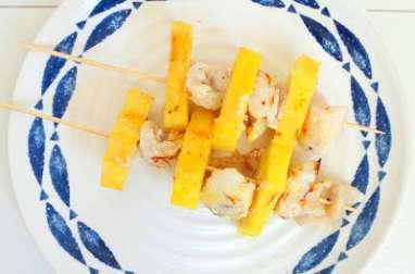Brochettes de joues de lotte au safran et ananas