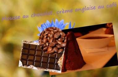 Mousse au chocolat sur lit de crème anglaise au café