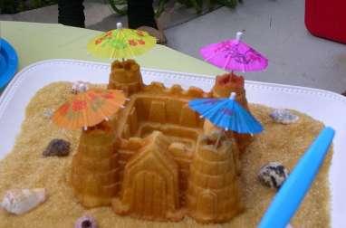 Gâteau de gaufres en forme de château fort