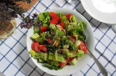Salade libanaise de tomates, laitue et poivrons