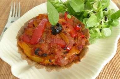 Tartelettes aux poivrons et au thon, pâte à tarte sans gluten à l'huile d'olive