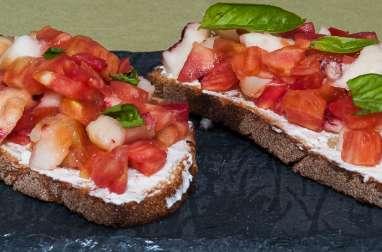 Bruschetta tomates pêches