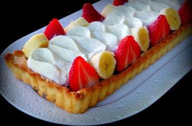 Tarte rhubarbe, fraises, banane et crème légère de Philippe Conticini