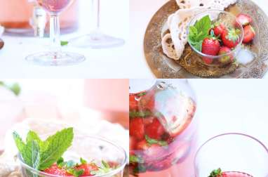 Thé glacé fraises et menthe