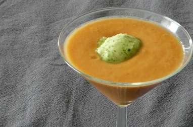 Gaspacho tomates concombre sorbet basilic