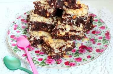 Brownies gourmands au chocolat au lait, amandes, cranberries et chocolat blanc