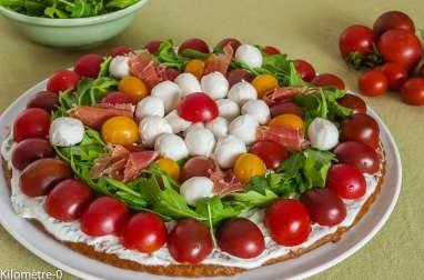 Tarte salée aux tomates cerises, mozzarella et roquette