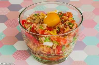 Salade de tomates, thon et oeufs