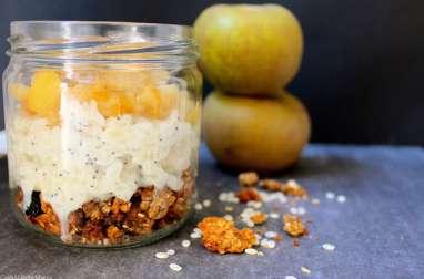 Parfait granola, riz au lait au pavot, compotée de pommes vanillée