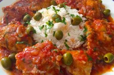 poulet aux tomates et aux olives