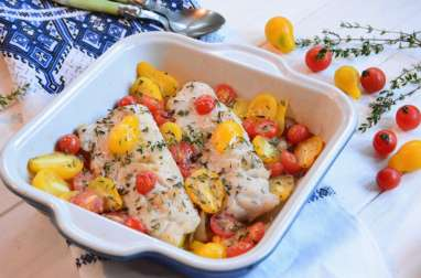 Lieu et tomates cerises rôties au four