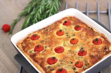 Tarte au boeuf, oignons et tomates cerises