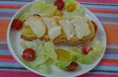 Bruschetta tomates ananas scamorza fumée