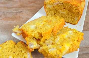 Cake au poulet rôti, emmental et mozzarella et curry