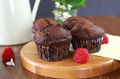 Muffins « aériens » double chocolat framboise