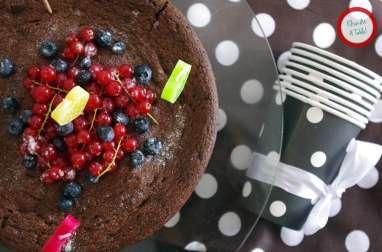 Fondant au chocolat et fruits rouges