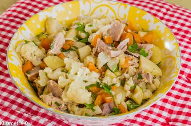 Salade de jarret de porc aux carottes, chou fleur et pommes de terre