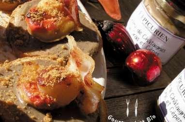 Tartines briochées de crème de foie gras aux cèpes et Saint-Jacques
